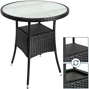 Round Rattan Table | Frosted Glass, Aluminum Frame | Side, Bistro, Snack  Table