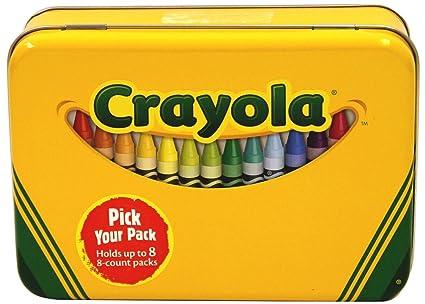 amazon com crayola tin crayon box holds 64 crayons 6 x 4 x 2