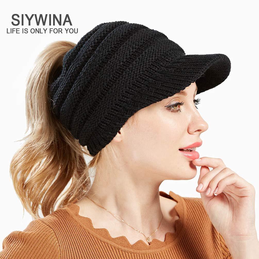 36933034432 SIYWINA Bonnet Hiver Femme en Tricot avec Trou pour Queue de Cheval Beanie  Hat  Amazon.fr  Vêtements et accessoires
