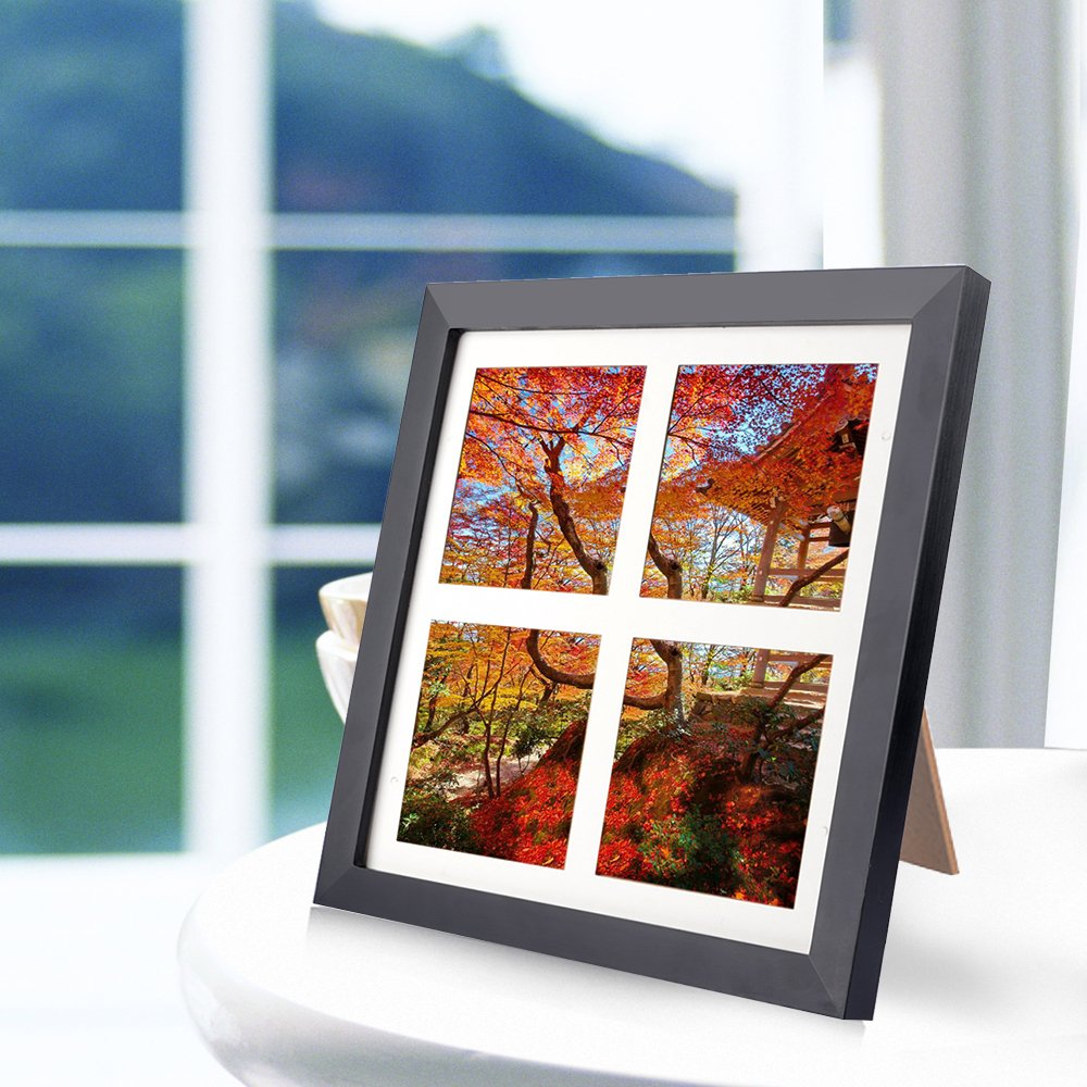 10x10 Picture Frame,Alotpower Black Desktop Frame with Clear Plexiglass Front Display 4 Photos 4x4 Inch with Mat