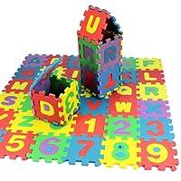 diaped Puzzle Tapis Enfants 36 PCS Non-Toxique Tapis Coloré Antidérapant bébé Tapis Educatif de Mousse Tapis de Jeu des Lettres et Chiffres Baby Puzzles Foam Mats