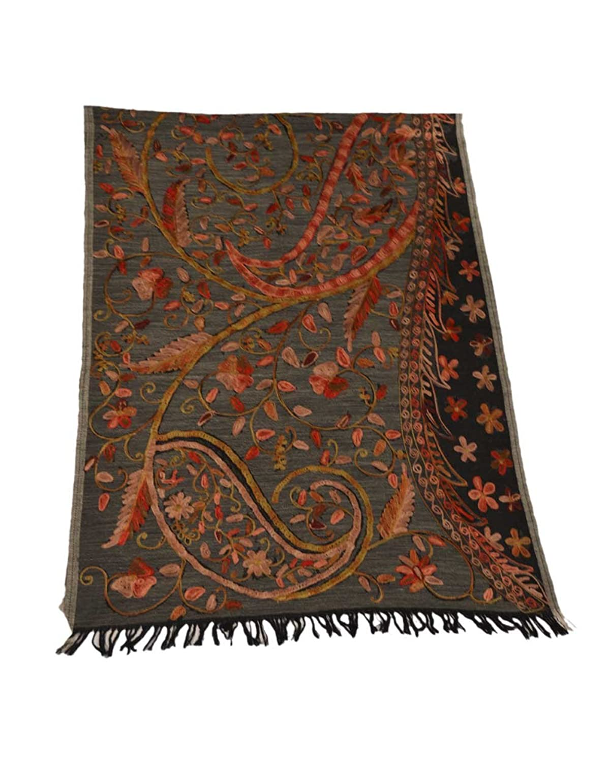 The Scarf Hut Women's Black Grey Base Accessories Beautiful Embroidery Wool Scarf.