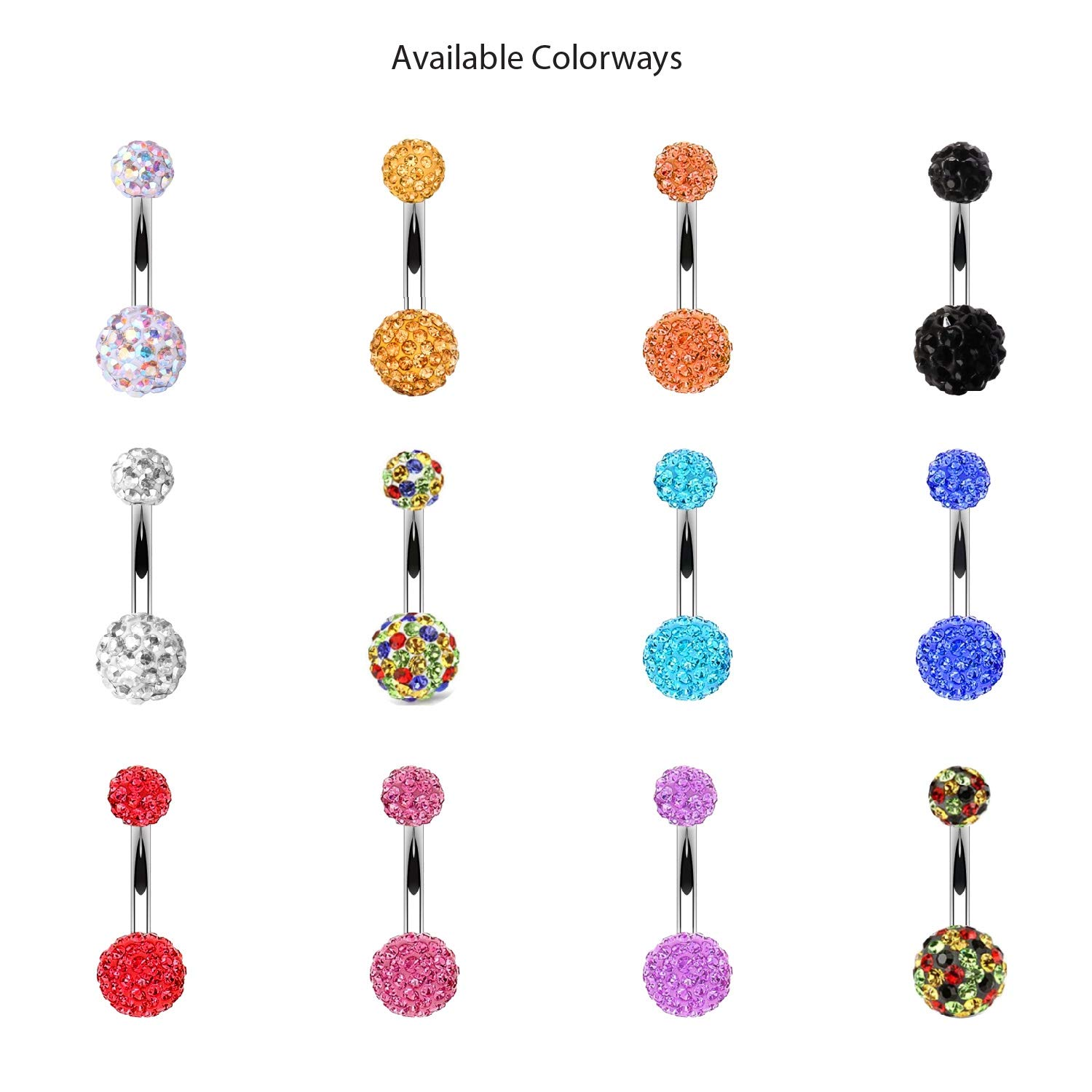 BodyJ4You Belly Button Ring Set Disco Ball CZ Crystals 14G Navel Banana Barbell Steel Body Jewelry