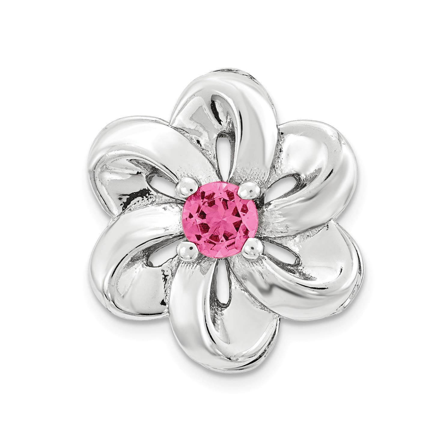 Bonyak Jewelry Sterling Silver Stack Exp Small Created Pink Sapphire Flower Chain Slide
