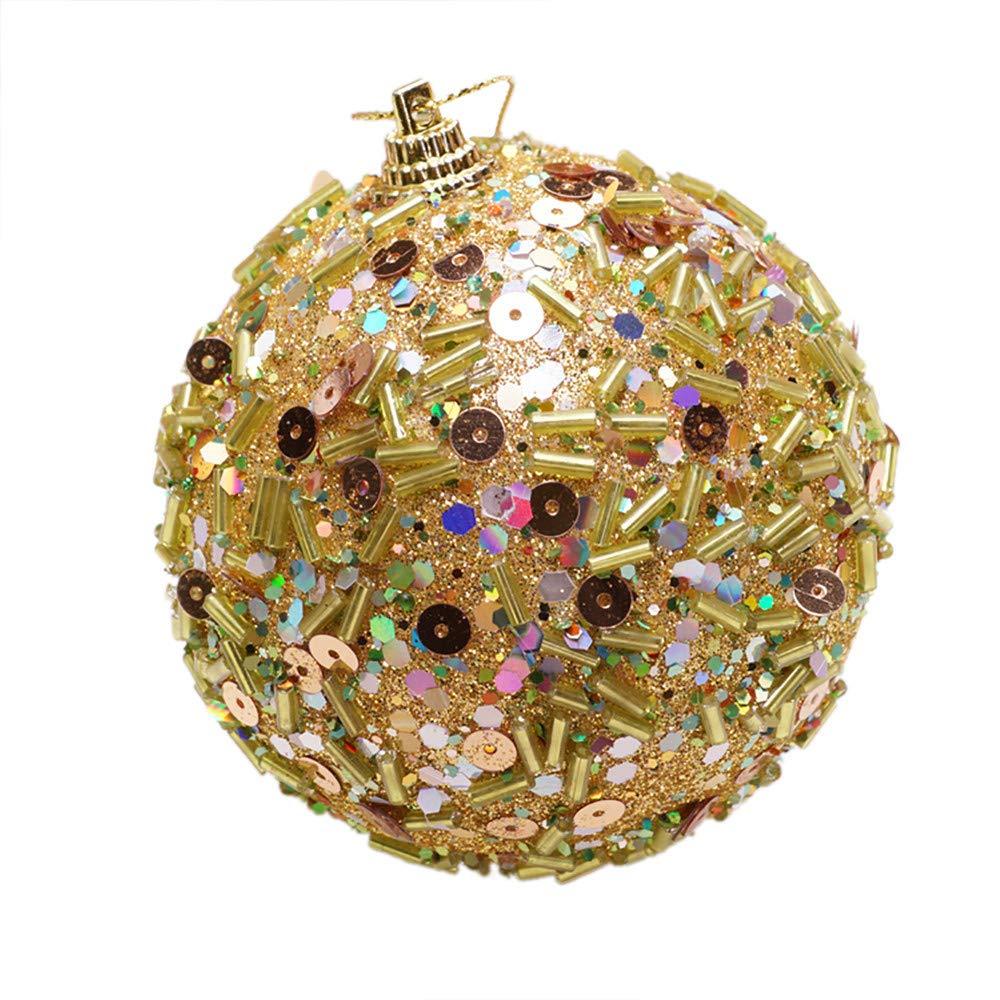 BaZhaHei Adornos de á rbol de Navidad, decoració n Navidad Rhinestone Brillo Adornos Bolas Á rbol de Navidad Adorno Decoració n 8 CM Lentejuelas Adhesivas Tiras Brillo Exclusivo Bolas de Navidad