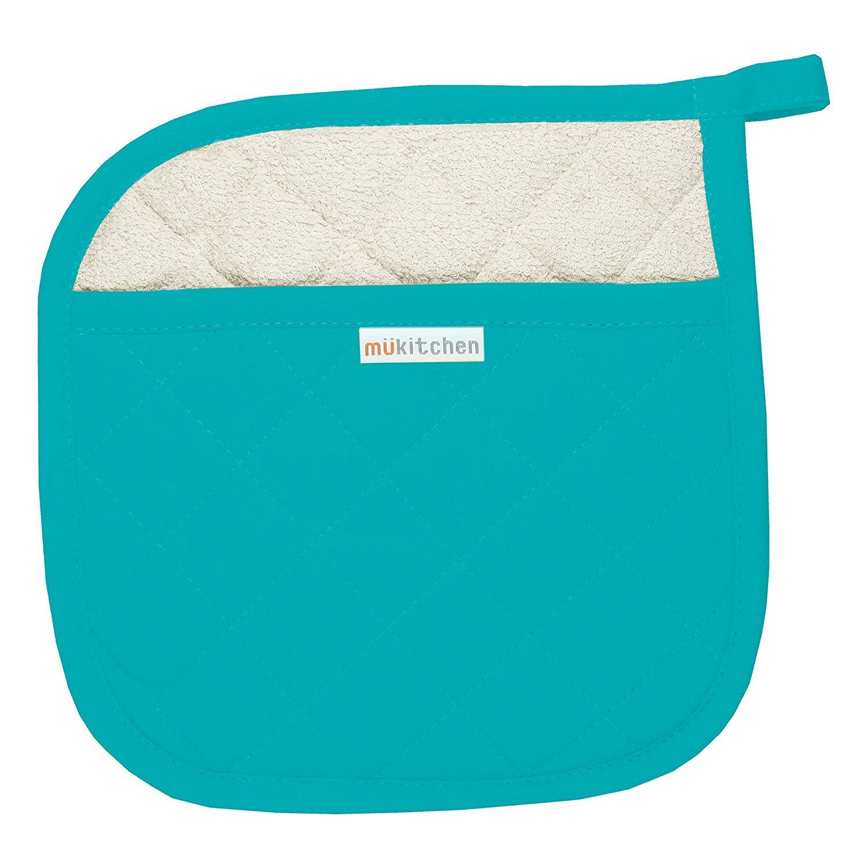 MUkitchen 100% Quilted Cotton Pot Holder, Aquamarine