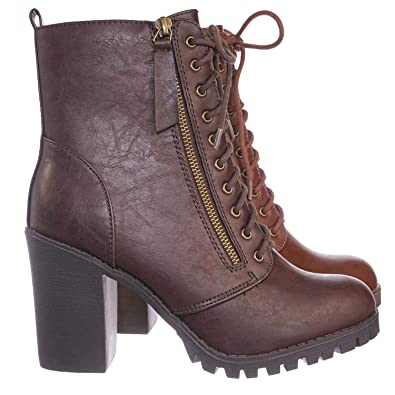c5f866f496e Soda Malia Vegan Round Toe Stacked Lug Heel Lace Up Ankle Booties
