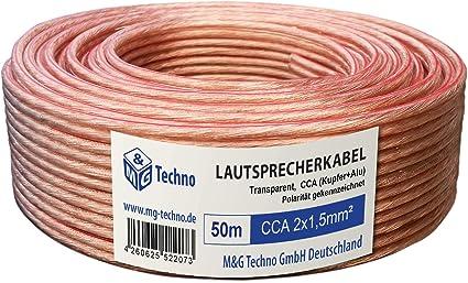 Transparent rund CCA Fair Style 50m Lautsprecherkabel in bew/ährte Fair Style-Qualit/ät Boxenkabel Single-Wire mit Metermarkierung 2x4mm/² Model 5332