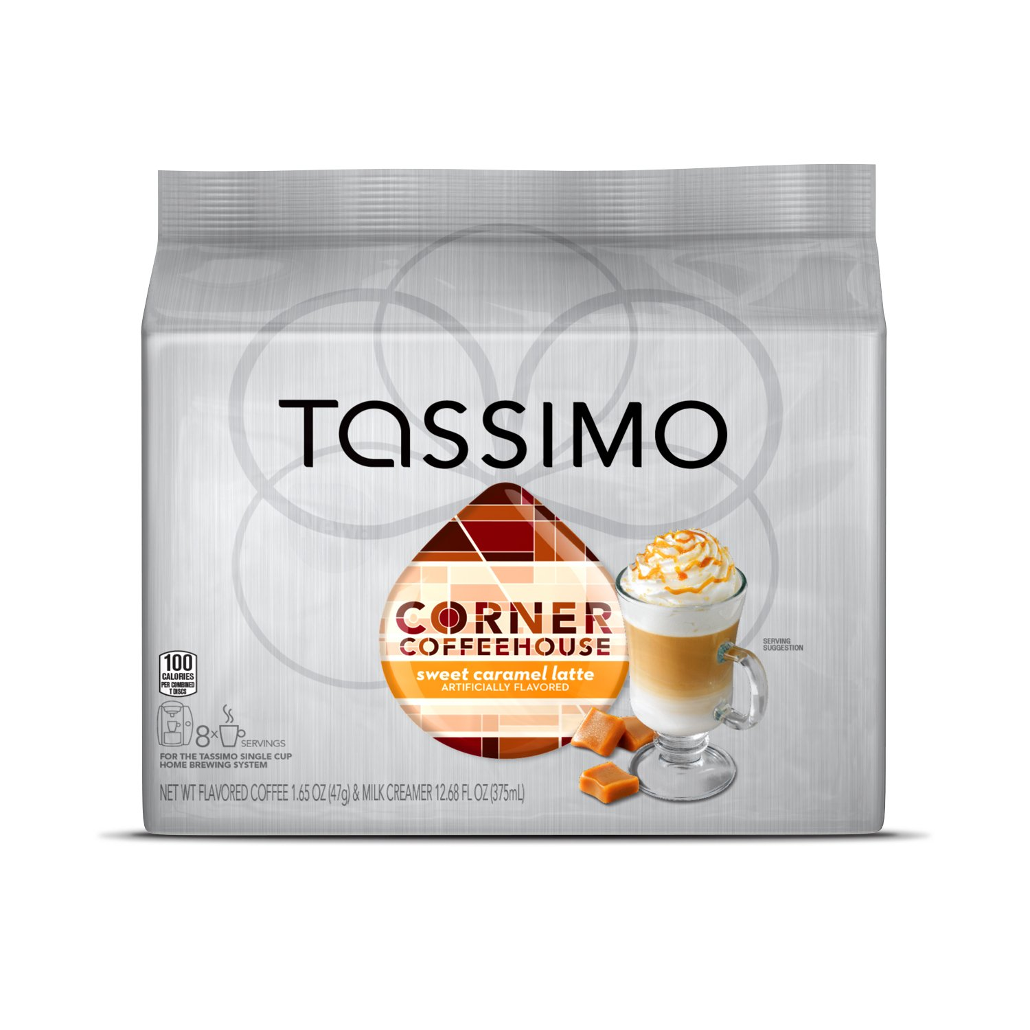 Corner Coffeehouse Sweet Caramel Latte, T-Discs for Tassimo Brewing Machines, 8 Count