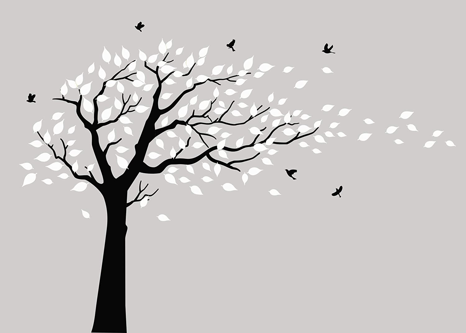 MAFENT Large Cherry Blossom Tree Blowing in The Wind Tree Wall Decals Wall Sticker Vinyl Wall Art Kids Rooms Teen Girls Boys Wallpaper Wall Stickers Room Decor (Black and White)