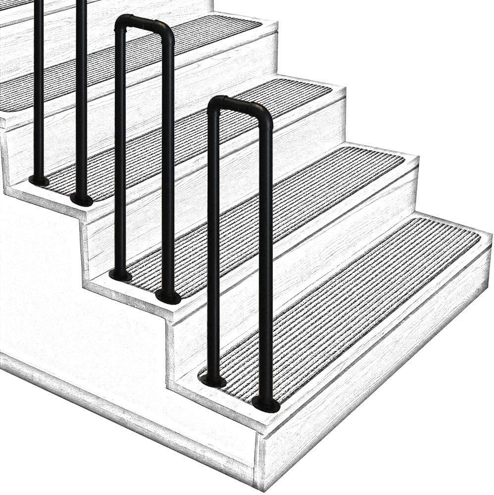 VAN+ Barandillas de escaleras Interiores y Exteriores Barandillas de Entrada de Hierro Forjado Negro arqueado Escaleras Exteriores Barandillas Barandillas-75cm