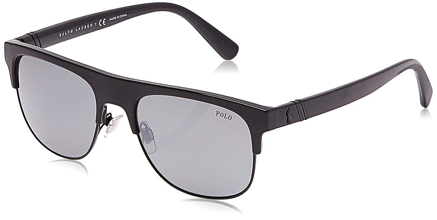 Polo 0PH4132 Gafas de sol, Rectangulares, 55, Shiny Black: Amazon ...
