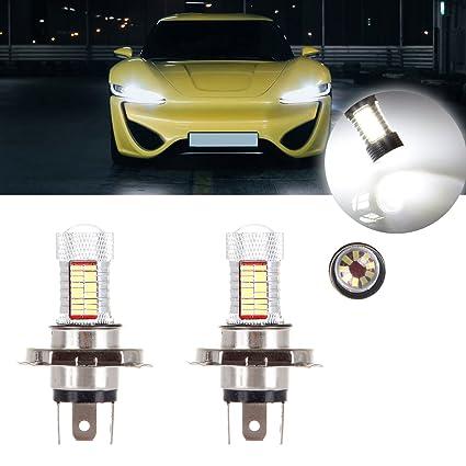 cciyu 2 unidades color blanco higtht 81smd de 12 V H4 bombilla LED ...