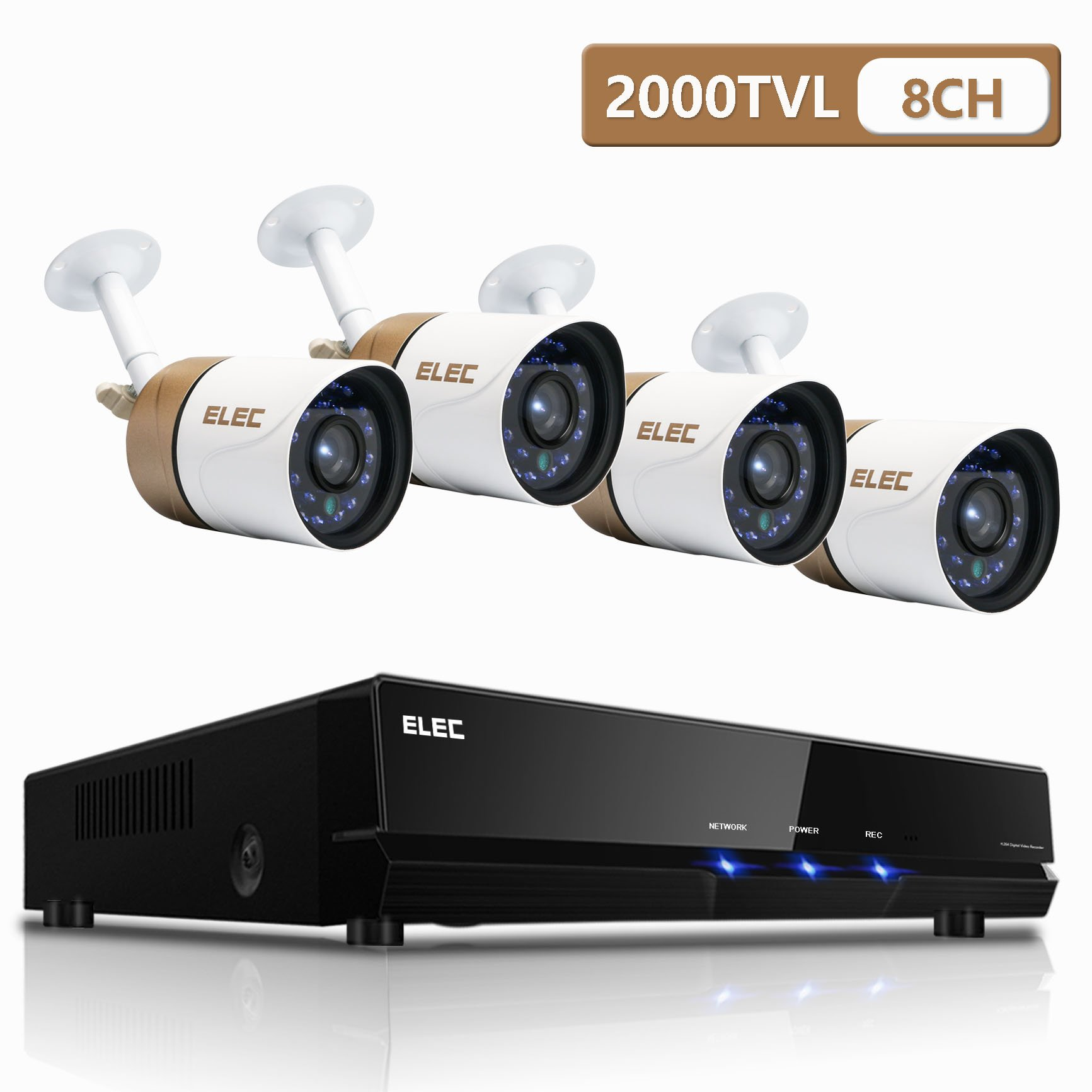 Security Camera System,ELEC 8-Channel AHD 1080N DVR HD 2000TVL Surveillance DVR Cameras CCTV+ 4 Weatherproof Bullet 1.3MP Cameras IR-Cut Night Vision, NO Hard Drive