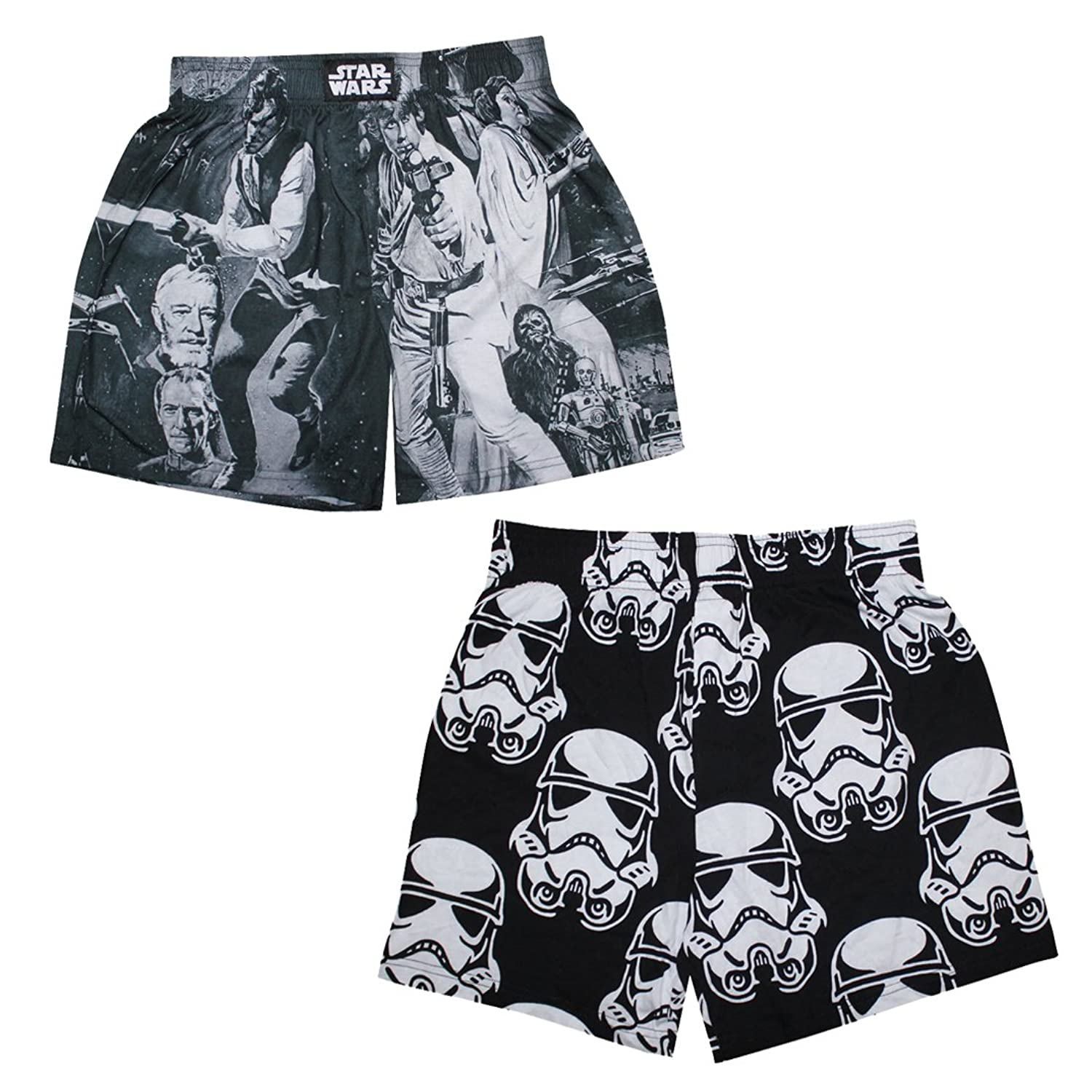 (Pack of 2) STAR WARS Mens Functional Open Fly Boxer Shorts