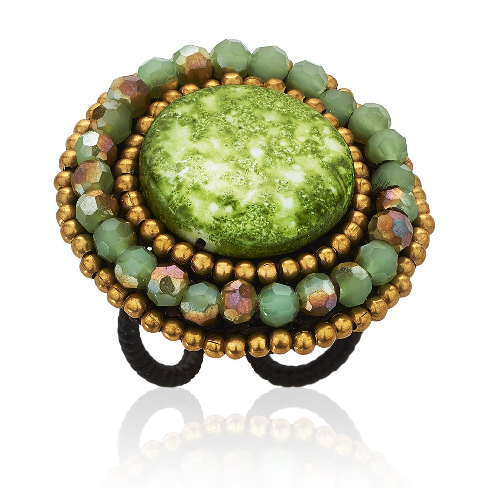 Brass, Cotton Wax and Green Dyed Mother of Pearl Beaded Adjustable Ring