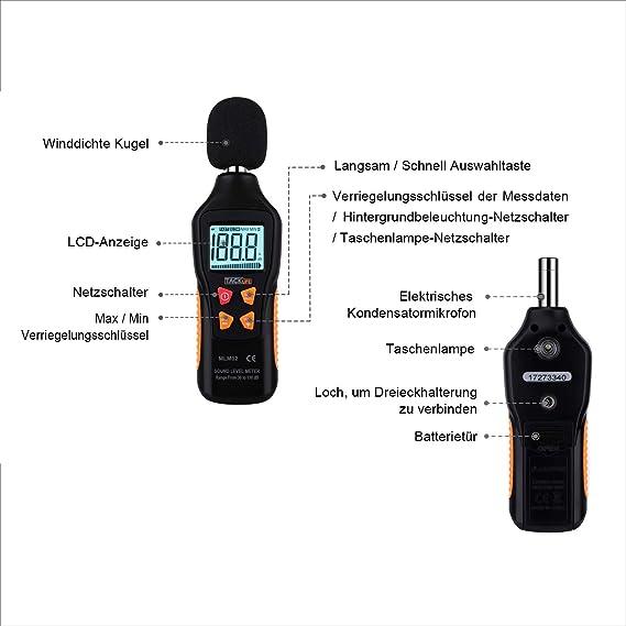 Medidor de Sonido, Tacklife MLM02 Decibelímetro, 30-130dB, Modo Rápido/Lento, LCD Retroiluminada, con Linterna, Batería Incluida, Precisión: ±1.5 dB, ...