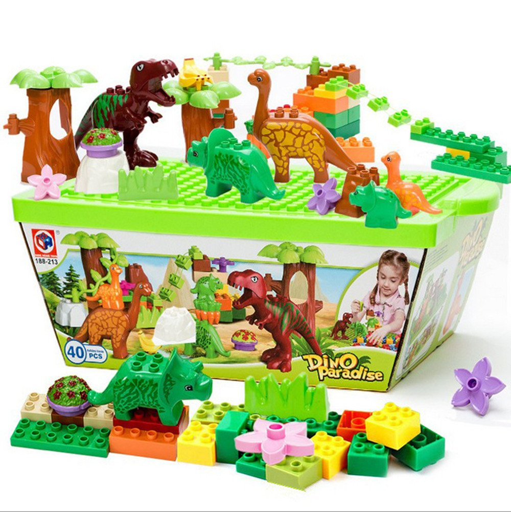 40 Pieces Puzzles Figure Building Blocks Dinosaur Toys - Jurassic Dinosaur World Park Figure Toy for Kids Gifts HengTongHuan