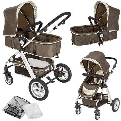 TecTake 2 en 1 Silla de paseo aluminio coches carritos para bebes convertible con protección contra mosquitos y protección contra lluvia - ...