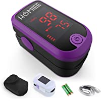HOMIEE Superior Measuring Accuracy Exquisite, Compact and Lightweight SpO2 & PR Rate Recorder, Heart Rate Monitor with Durable Carrying case,Lanyard, Automatic Shutdown Fast Reading, Sport and Aviation Use Only (Purple), for Father's Day