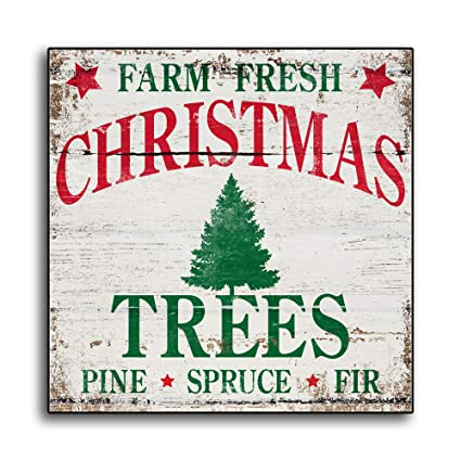 Fresh Cut Christmas Trees Sign.Amazon Com Olga212patrick Christmas Tree Wood Sign Plaque