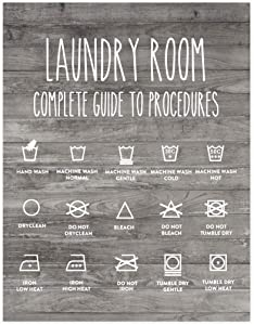 Andaz Press Laundry Room Wall Art Decor Signs, 8.5 x 11-inch Poster, Rustic Farmhouse Gray Wood, Laundry Room Guide to Procedures, 1-Pack, Unframed