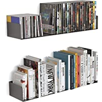 """Livzing 24"""" Floating Heavy Metal Book Shelf – Wall Mount Rack –CD DVD Display Storage Bookcase for Home Decor Items…"""