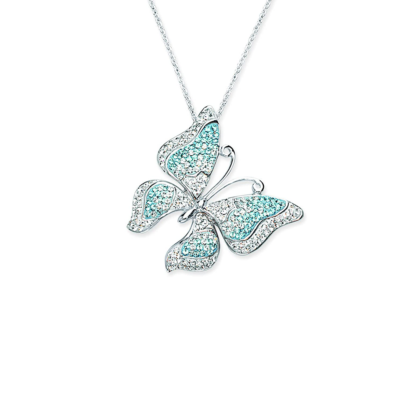 Butterfly Pendant Neck//#4 Aquamarine DiamondJewelryNY Silver Pendant