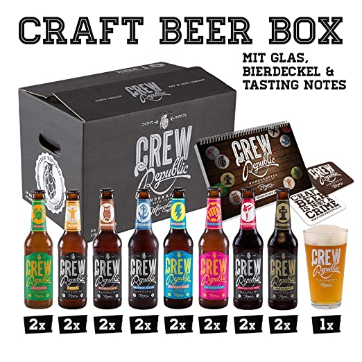 nu kopen verkoop retailer Britse winkel CREW Republic Craft Beer Geschenkbox, Biergeschenk inkl. Verkostungsglas  und Tasting Notes (16 x 0,33 l)