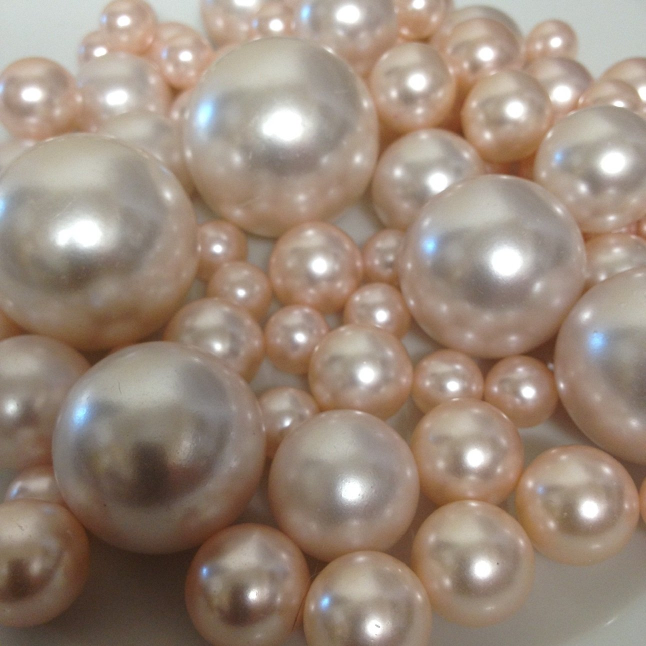 Vase Filler Pearls For Floating Pearl Centerpieces, 80 Blush Pink Pearls Jumbo & Mix Size No Hole Pearls, (Transparent Gel Beads Required To Create Floating Pearls Sold separately) by Floating Pearls
