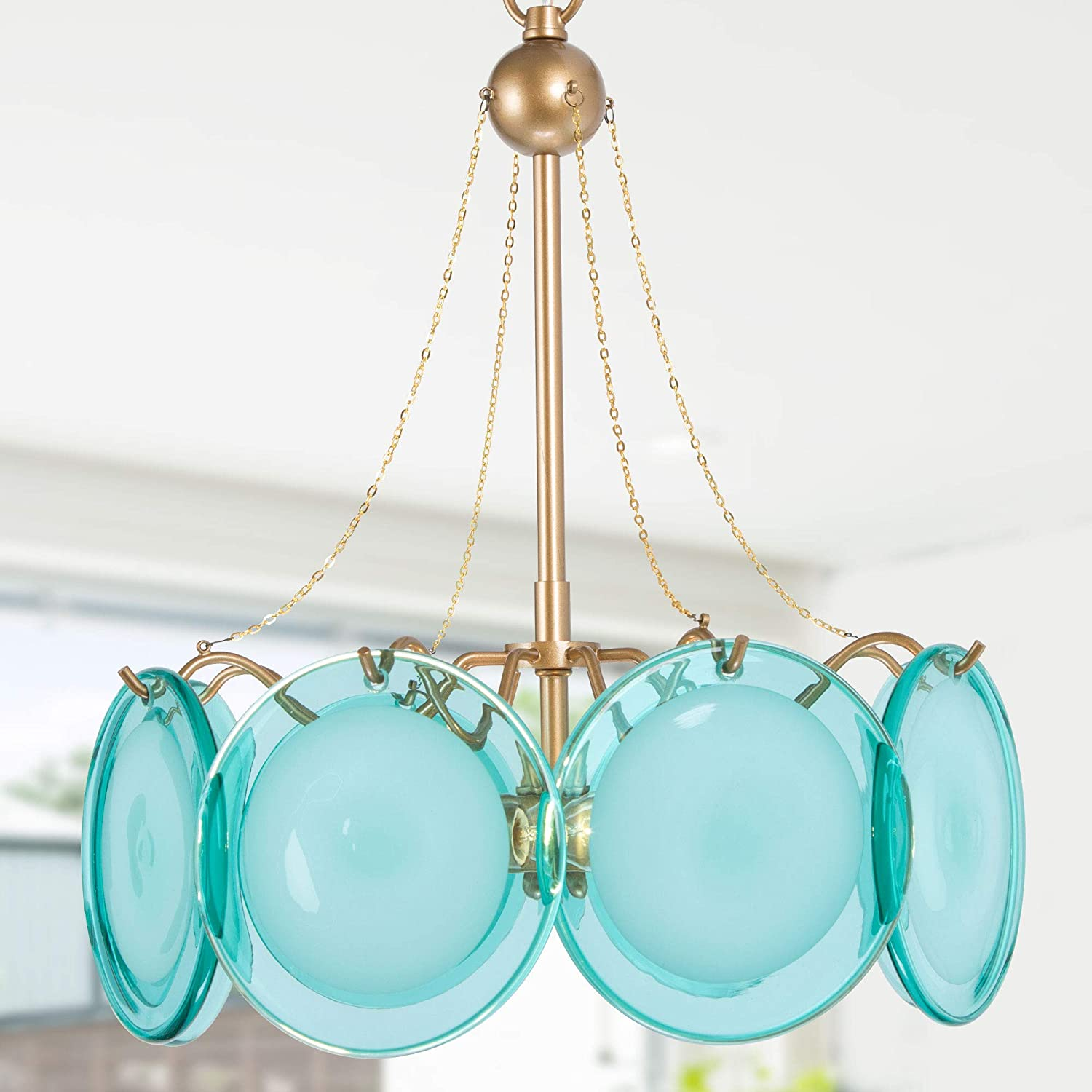 Chandeliers for Dining Rooms, Gold Drum Chandelier, Modern Pendant Light Fixtures with High-end Blue Glass Shade and Gold Finish for Kitchen Island, Foyer & Bedroom