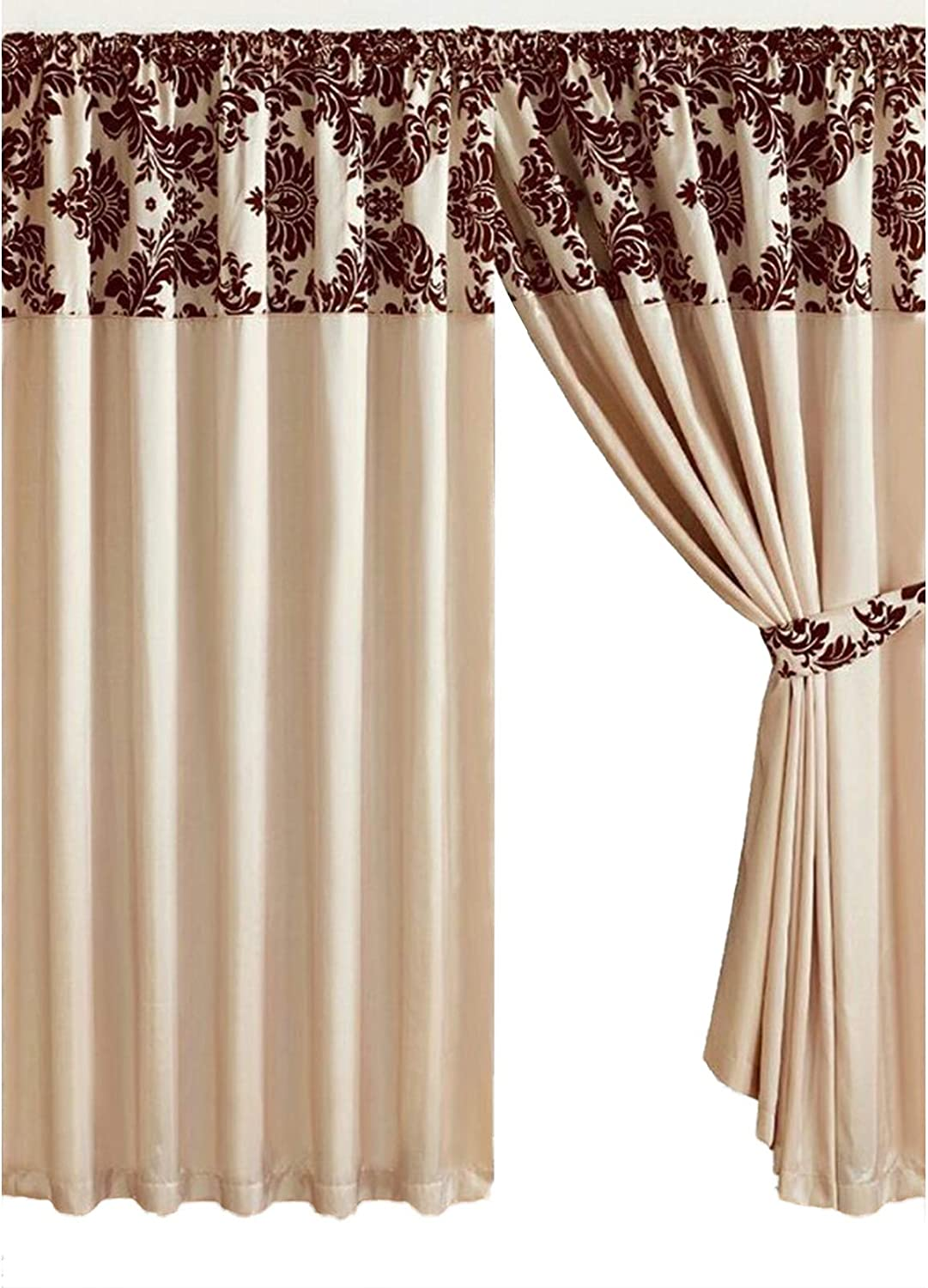 Half Flock Damask Pencil Pleat Curtains 90 X90 228x228cm Cream Coffee Amazon Co Uk Kitchen Home