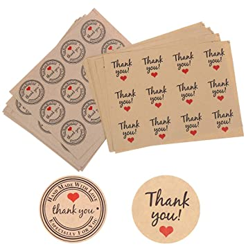 240 Round Paper Labels /'Thank you Hand made with love/' Gift Food Craft Stickers