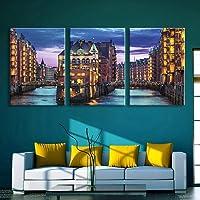 M-zmds Arte en Lienzo de Pared de 3 Piezas - Iluminación LED Arte de Pintura Luminoso con luz Brillante Lámpara de Pared para la decoración de Interiores en 3D Moderna, 35X50cm