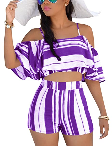 806fe55aa7 Vilover Women s 2 Pieces Outfits Print Crop Tee Top with Cute Shorts Outfit  Suit (Purple