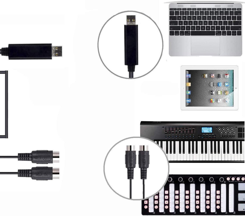 MIDI USB Adapter mit LED DigitalLife USB zu MIDI 5 Polig In//Out Konverter Kabel f/ür MIDI Controller//E Piano auf PC//Mac USB MIDI Interface Kabel