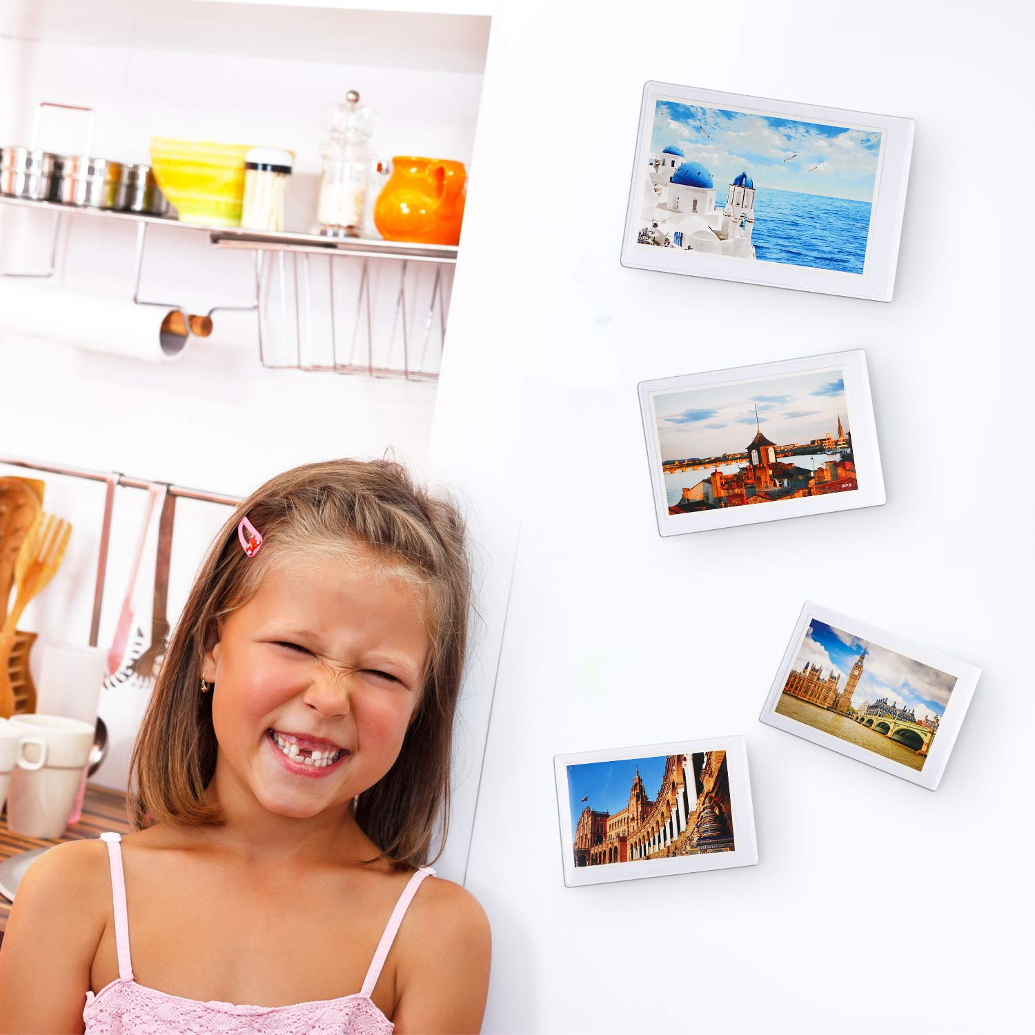 Clear Photo Pocket Sleeve for Fridge Office Cabinet Tatuo 10 Pieces Magnetic Photo Pocket Picture Frame Locker