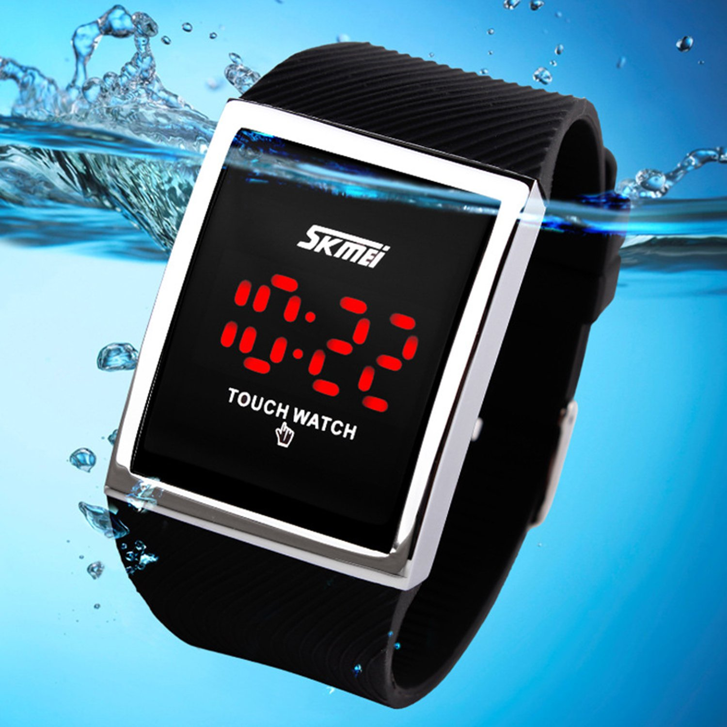Touch Screen Outdoor Sports Black Watch with LED, Digital for Boys Girls, Above 10 Years Old Kids by FIZILI (Image #3)