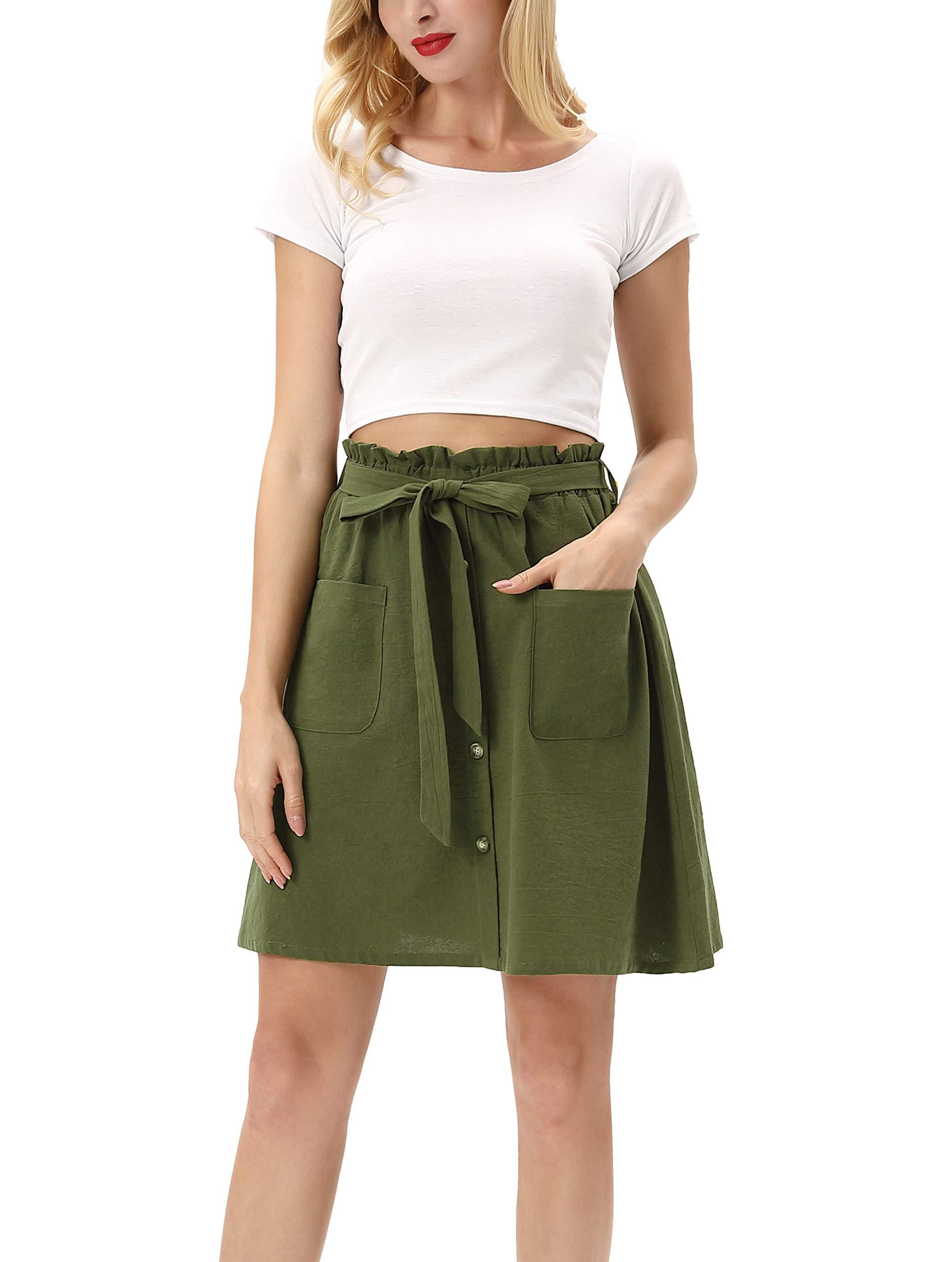 Kate Kasin Women Casual Self Tie High Waist Pleated A-Line Midi Skirt with Pocket