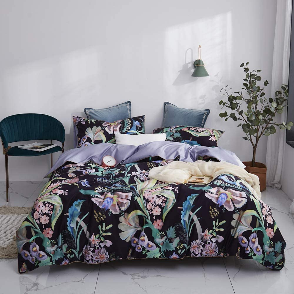 Mixinni Floral Leaves Pattern Duvet Cover King Black Duvet Cover Set Purple Bedding Set Pattern Duvet Cover With Zipper Closure Ties Luxury Quality Comfortable Easy Care 3pcs King Size Home Kitchen
