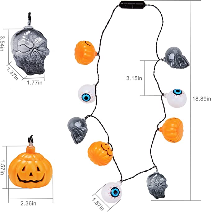 Outgeek Halloween Necklaces LED Necklaces 2 Pack Pumpkin Skull Light Party Supplies with 3 Different Flicker Modes Party Favors