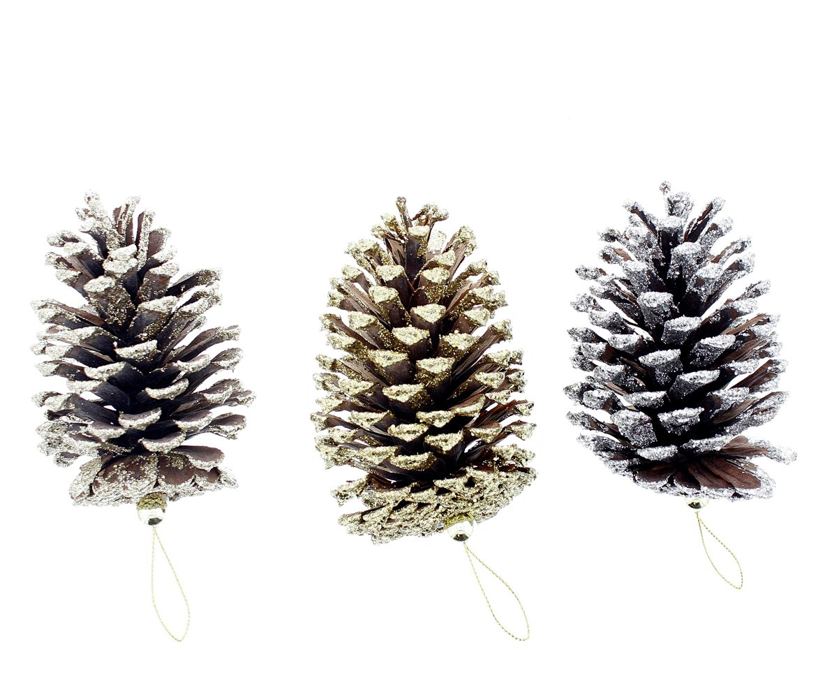 Decorate Christmas Holiday Real Natural Shimmering Sparkling Glitter Decorated Pine Cones, 3 Piece Set, Gold, Silver, Medium, 4.5' 4.5 COUNTRY SILK No Model