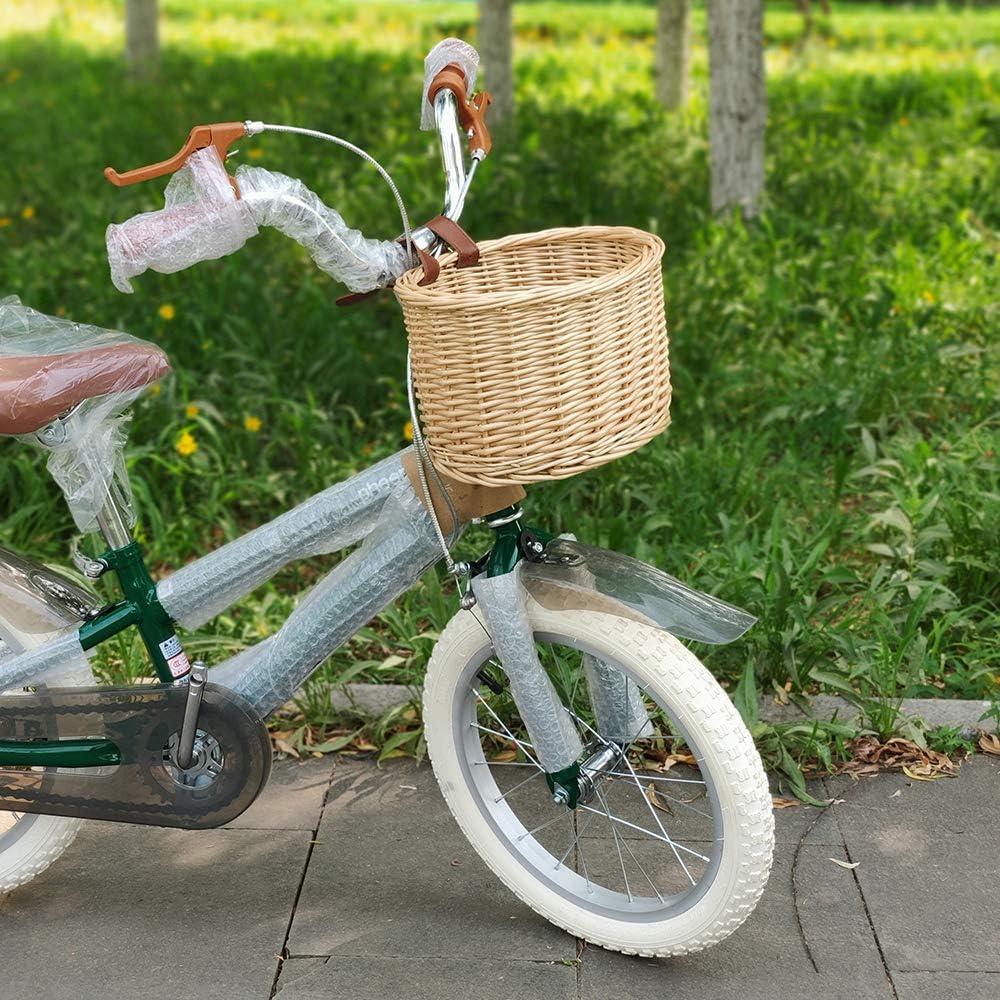 ZONJIE Colecci/ón de canastas de Bicicletas Canasta de Bicicletas para ni/ños Canasta de Bicicleta de Mimbre con cintur/ón de Cuero Canasta de Almacenamiento de Bicicleta de rat/án Natural Hecha a Mano