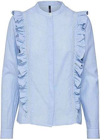 Pepe Jeans - PL303141 Maya - 551 Blue - Blusa con Volantes para Mujer (L): Amazon.es: Ropa y accesorios