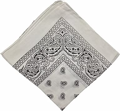 BOOLAVARD 50% ermäßigung – Bandana Pañuelo Pañuelo – Estampado: Paisley patrón de Colores – 24 – 100% algodón, Blanco: Amazon.es: Deportes y aire libre