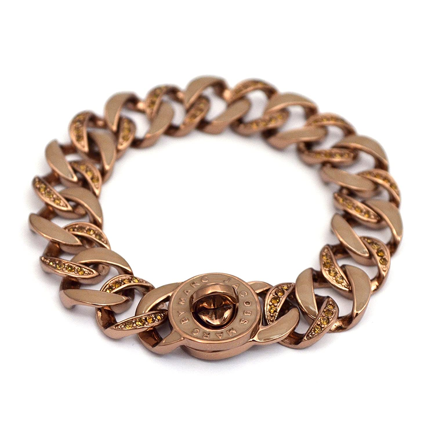 79aae89dd5f Marc by Marc Jacobs Turnlock Small Katie Bracelet Encrusted with Twist  Clasp Classic Enamel-Brown/Copper: Marc Jacobs: Amazon.co.uk: Jewellery