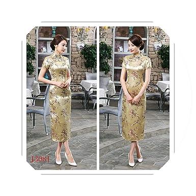 474448df3 Amazon.com: Chinese Traditional Cheongsam Women Silk Satin Plum Blossom  Long Dress: Clothing