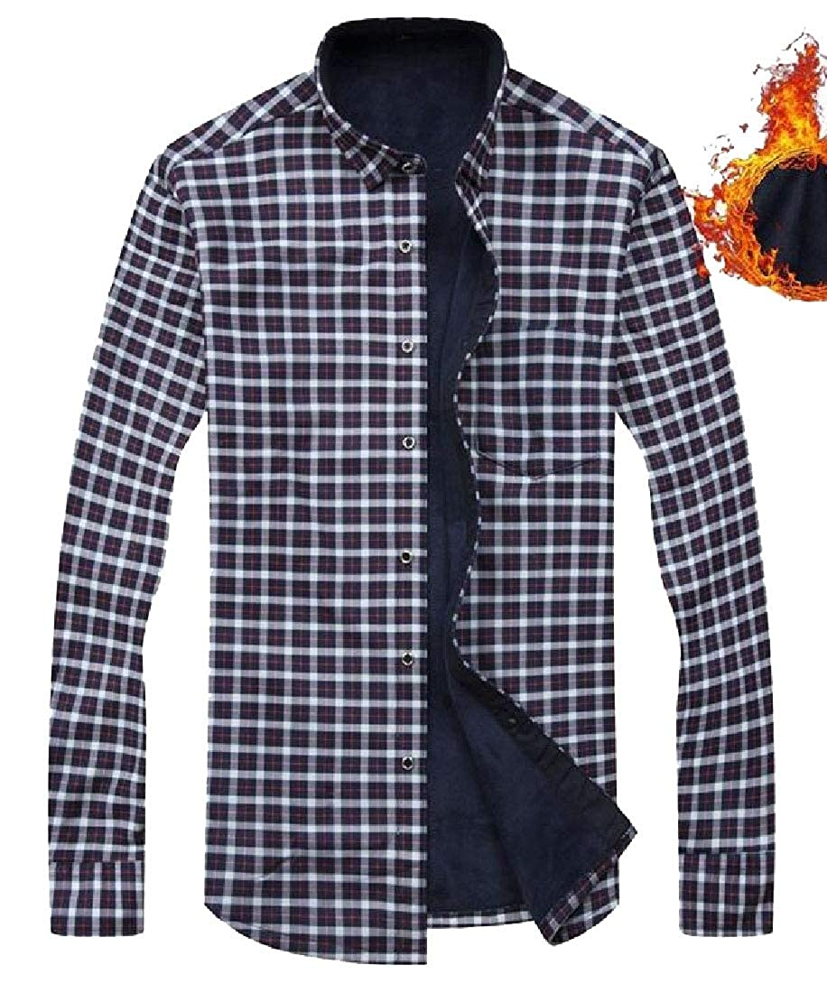 WSPLYSPJY Mens Winter Casual Long Sleeve Sherpa Linling Plaid Shirt