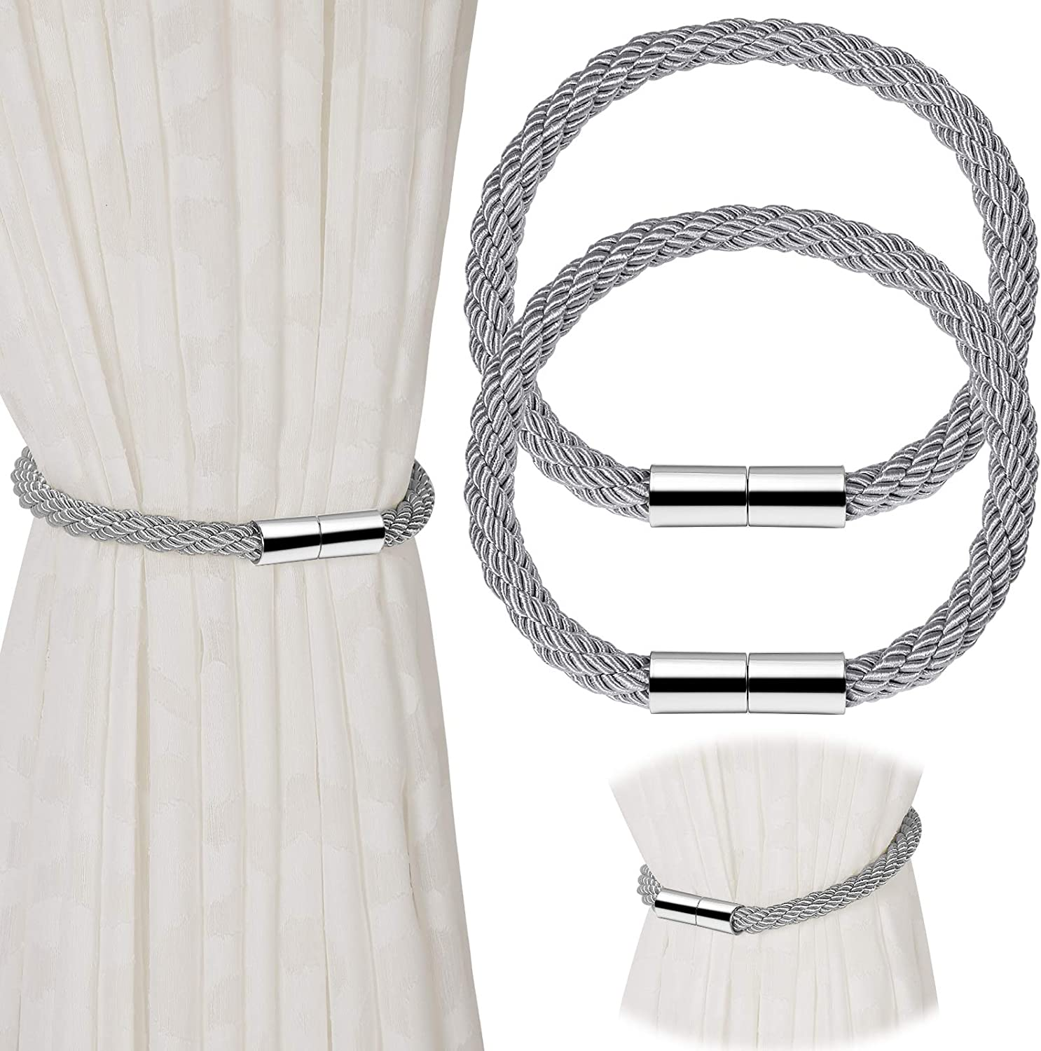 KWORK 2 Pieces Magnetic Curtain Tiebacks,22 Inch Long Decorative Curtain Hold-Backs for Home Office Window Decor (Gray)