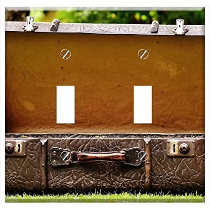 Luggage Leather Suitcase Old Suitcase Go Away 1 Switch Plate Triple Toggle
